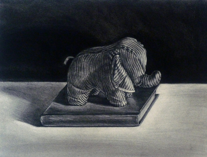 "Striped Elephant / 12""H x 18""W / 2001"