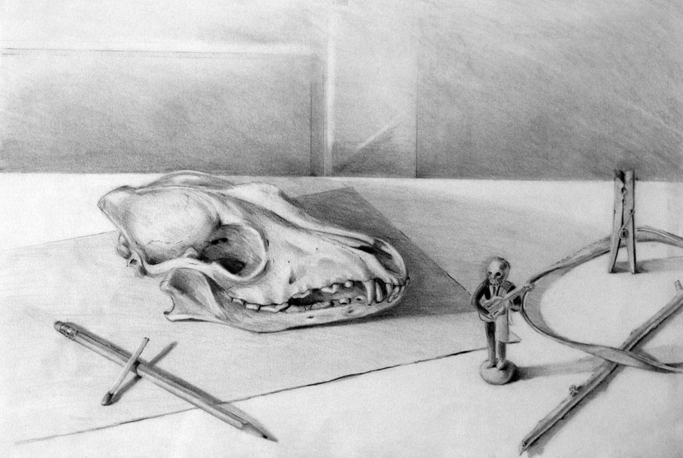 """Still Life with Skull / 15""""H x 22""""W / 1991"""