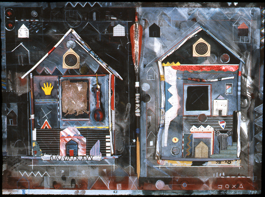 """Two Houses / 22""""H x 30""""W / 1989"""