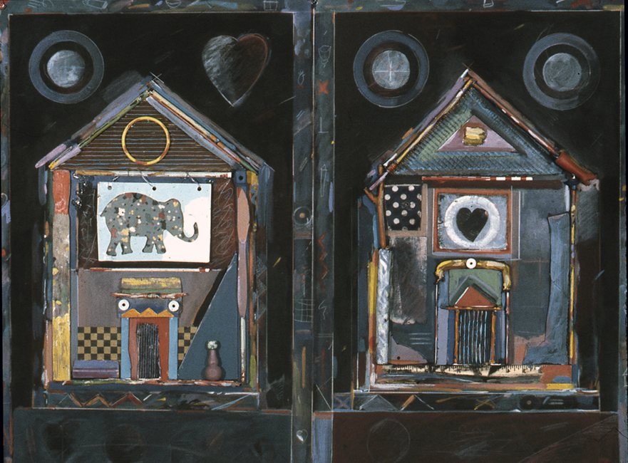 """Two Houses / 30""""H x 40""""W / 1996"""