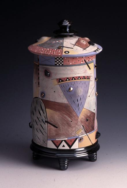 """Covered Jar / 14""""H x 6""""W / 1992"""