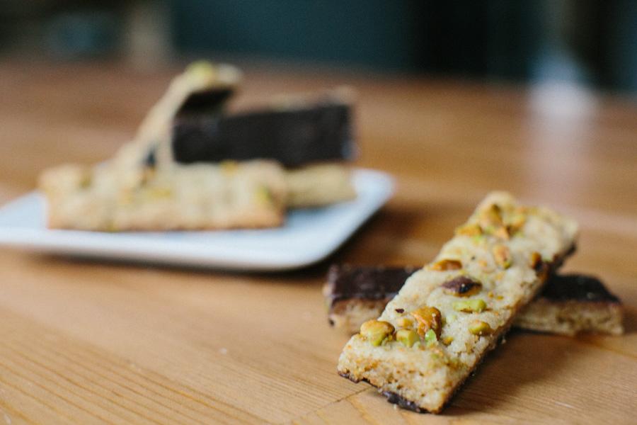 Dark Chocolate Dipped Pistachio Cookie Sticks // Becca Bakes (www.becca-bakes.com)