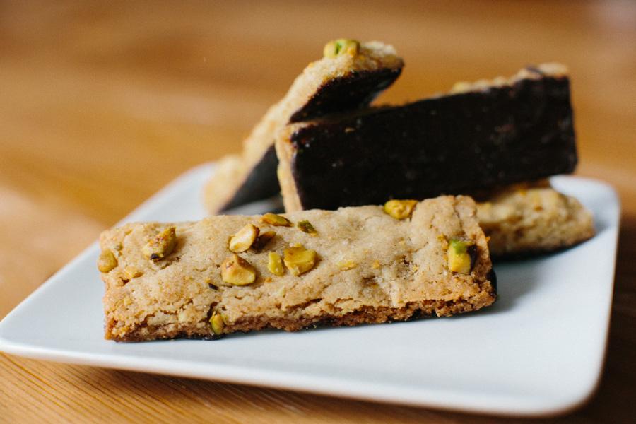 Chocolate Dipped Pistachio Cookie Sticks // Becca Bakes (www.becca-bakes.com)