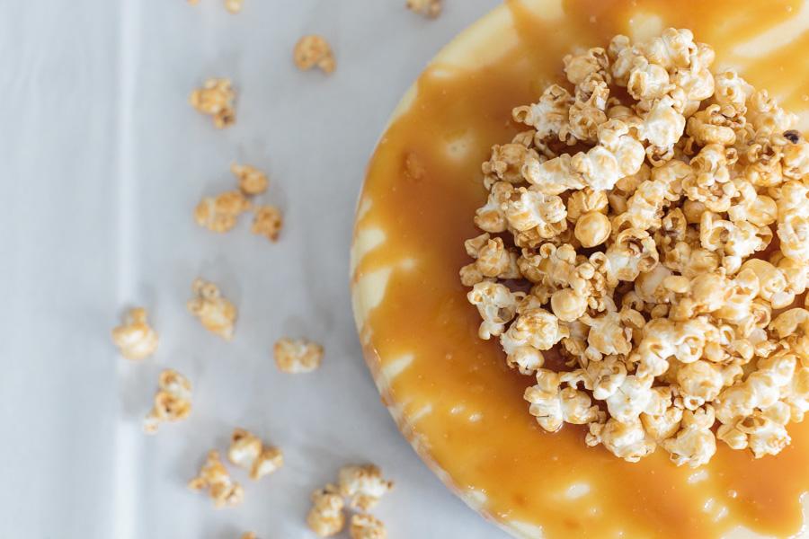 Salted Caramel Popcorn Cheesecake | Becca Bakes (www.becca-bakes.com)