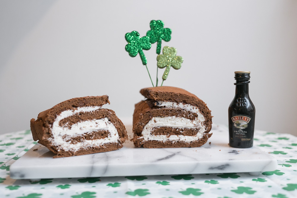 Chocolate Cake Roll with Bailey's Irish Cream Filling | Becca Bakes (www.becca-bakes.com)