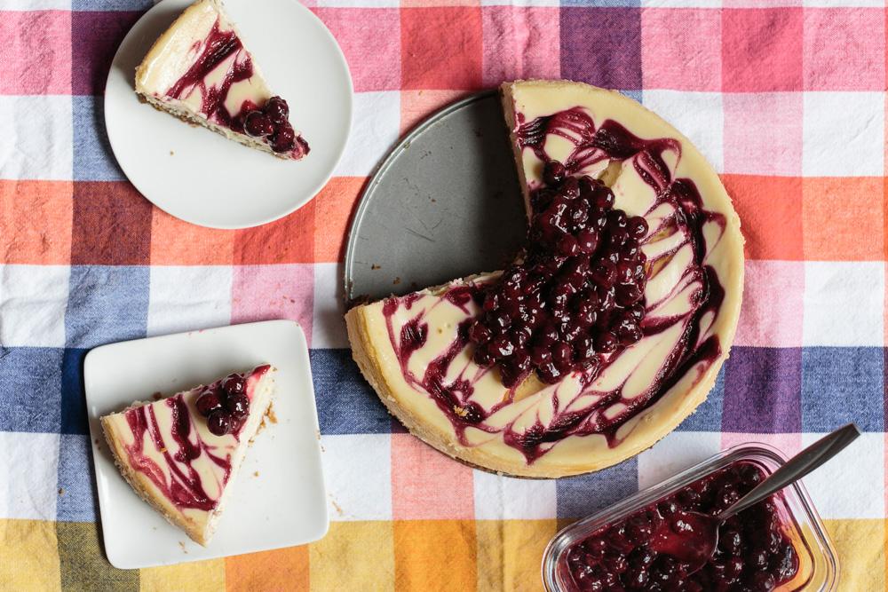 Lemon Cheesecake + Blueberry-Rose Swirl | Beca Bakes (www.becca-bakes.com)
