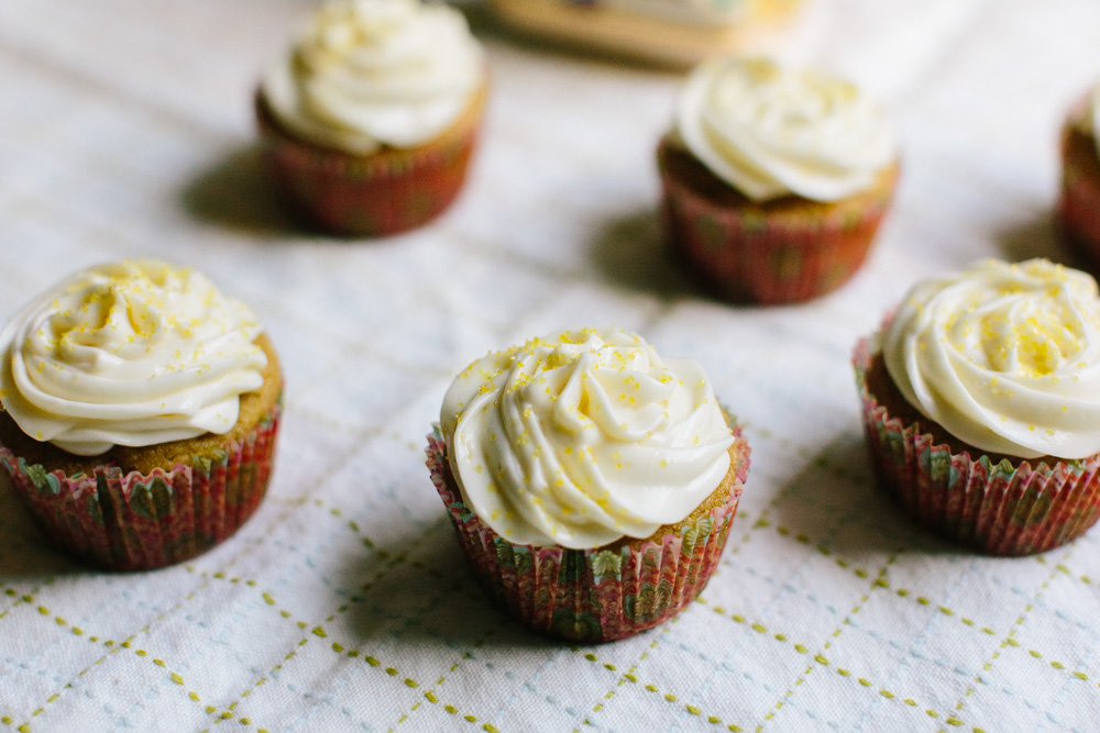 Cardamom Cupcakes [made with coconut flour!] + Lemon Cream Cheese Frosting