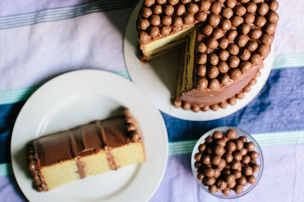 Light Corn Cake with Chocolate Covered Corn Pops | Becca Bakes (www.becca-bakes.com)