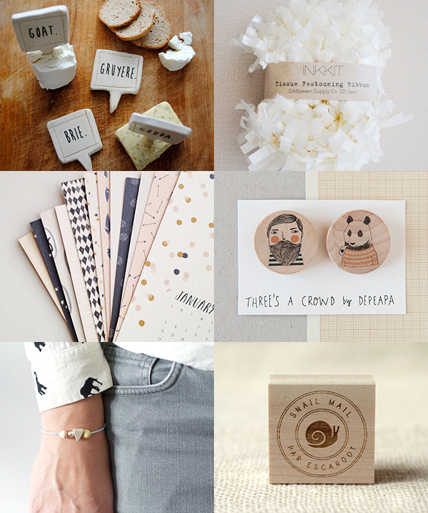 handmade cheese markers by nelldesign / cream tissue festooning ribbon by inkkit / pattern & post card calendar 2014  by stationeryboutique / bearded and bear wooden brooches  by depeapa / triangle pastel bracelet  by frausieben / par escargot rubber stamp  by witandwhistle