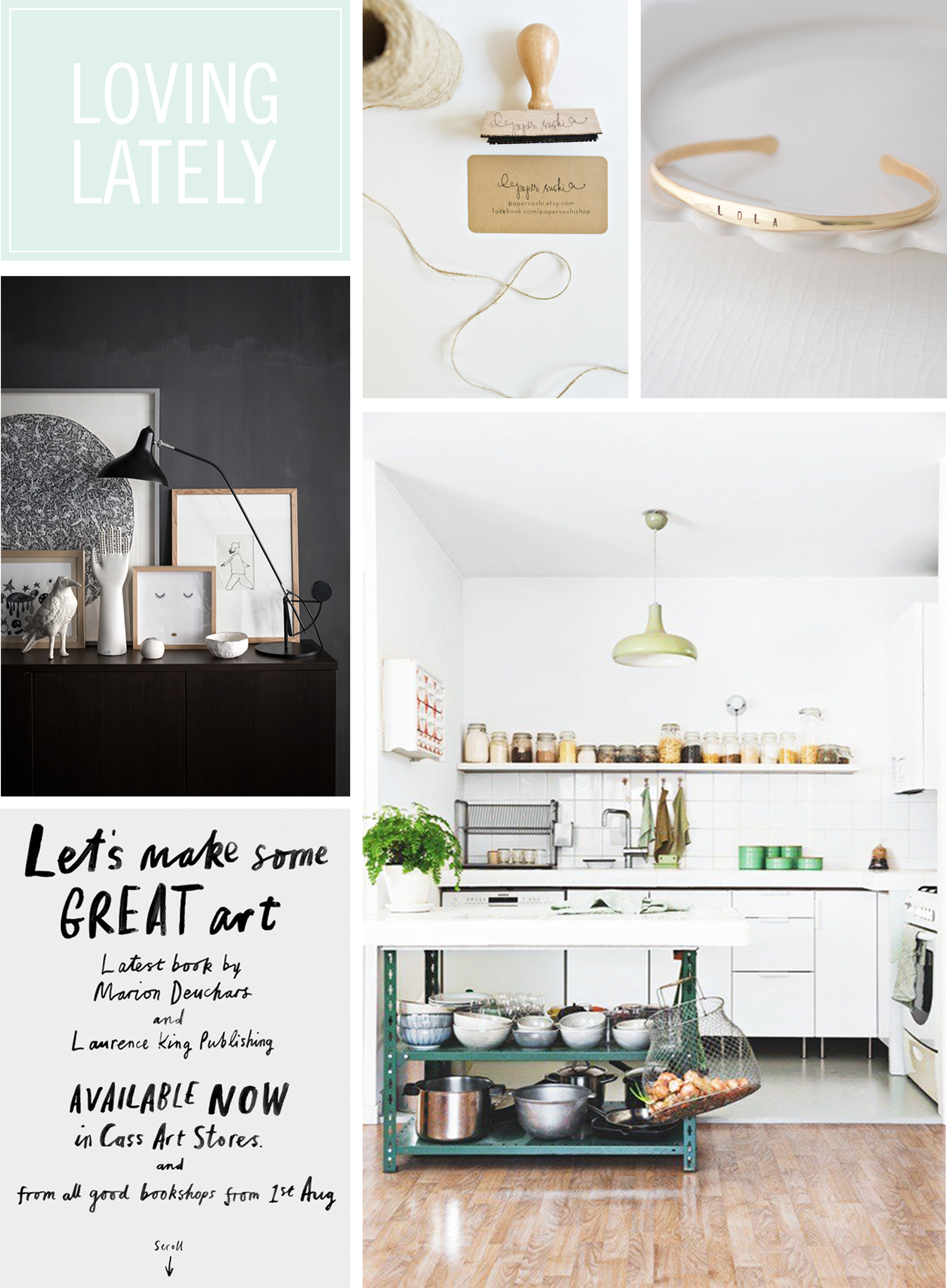 business card stamp by  paper sushi / gold name bracelet by  olive yew jewels / black home by  romain ricard  / let's make some great art by  marion deuchars &  laurence king / a london cottage by  sf girl by bay