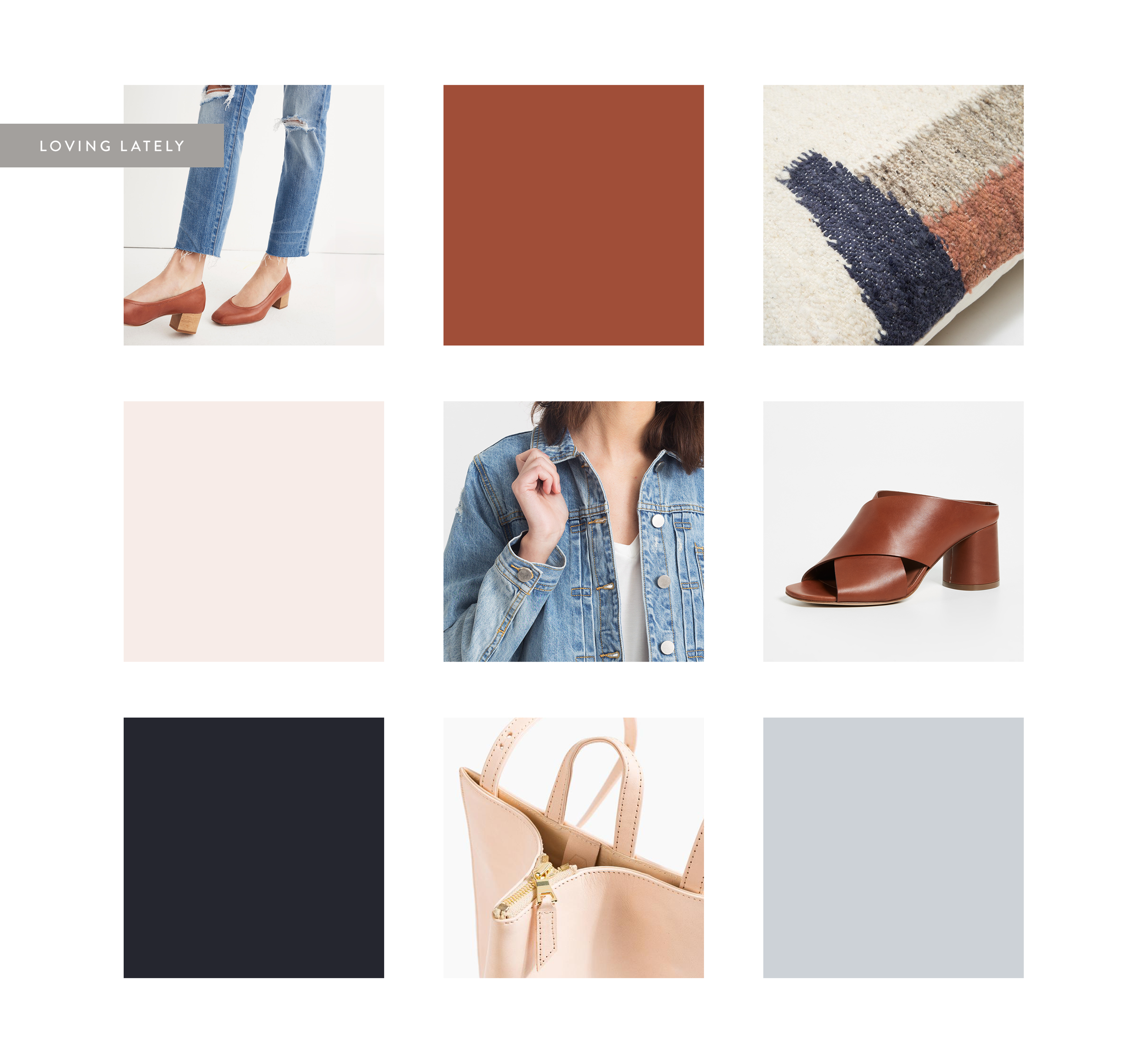 1.  the high-rise slim boy jean /madewell 2.  minna f  ormas pillow 20x20 /need supply co. 3.  vince theron mules /shopbop 4.  peyton denim jacket  / modern citizen 5.  the common knowledge bag  / poketo