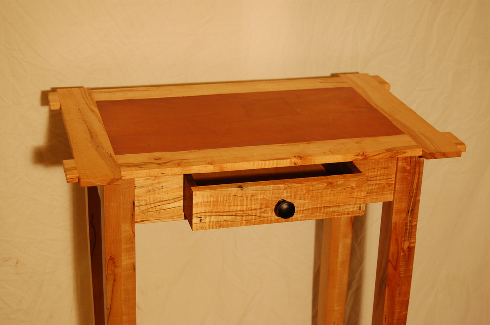 Side Table (wormy maple, leather top)
