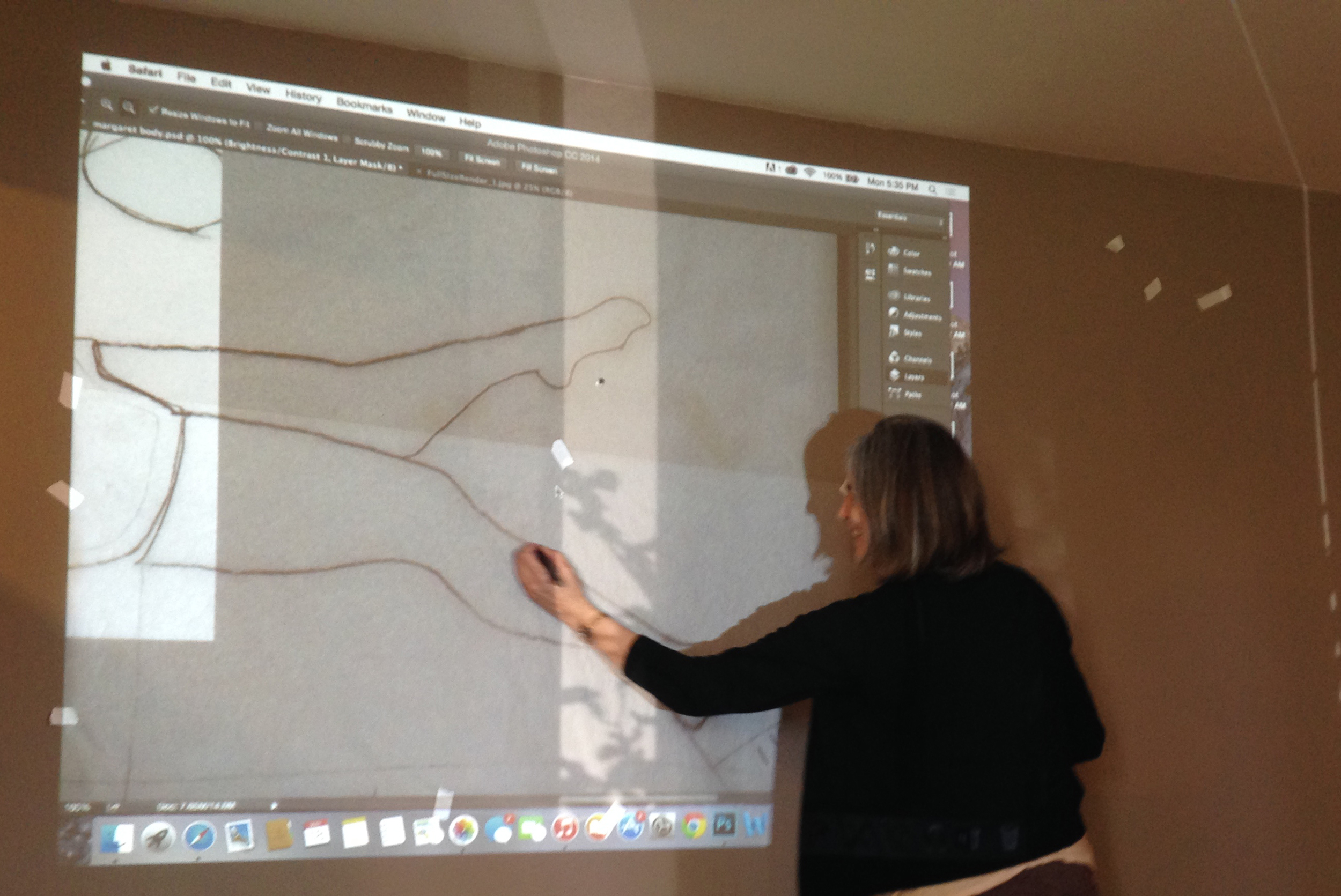 Finding a blank wall to transfer the images to scale was hard. The drawings looked huge in Marisa's house.