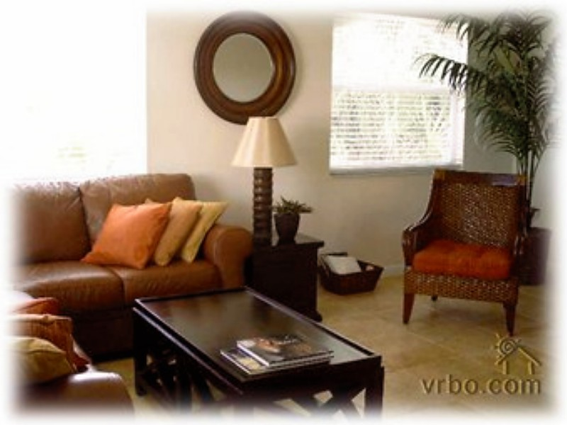 Living Room with Leather Sectional