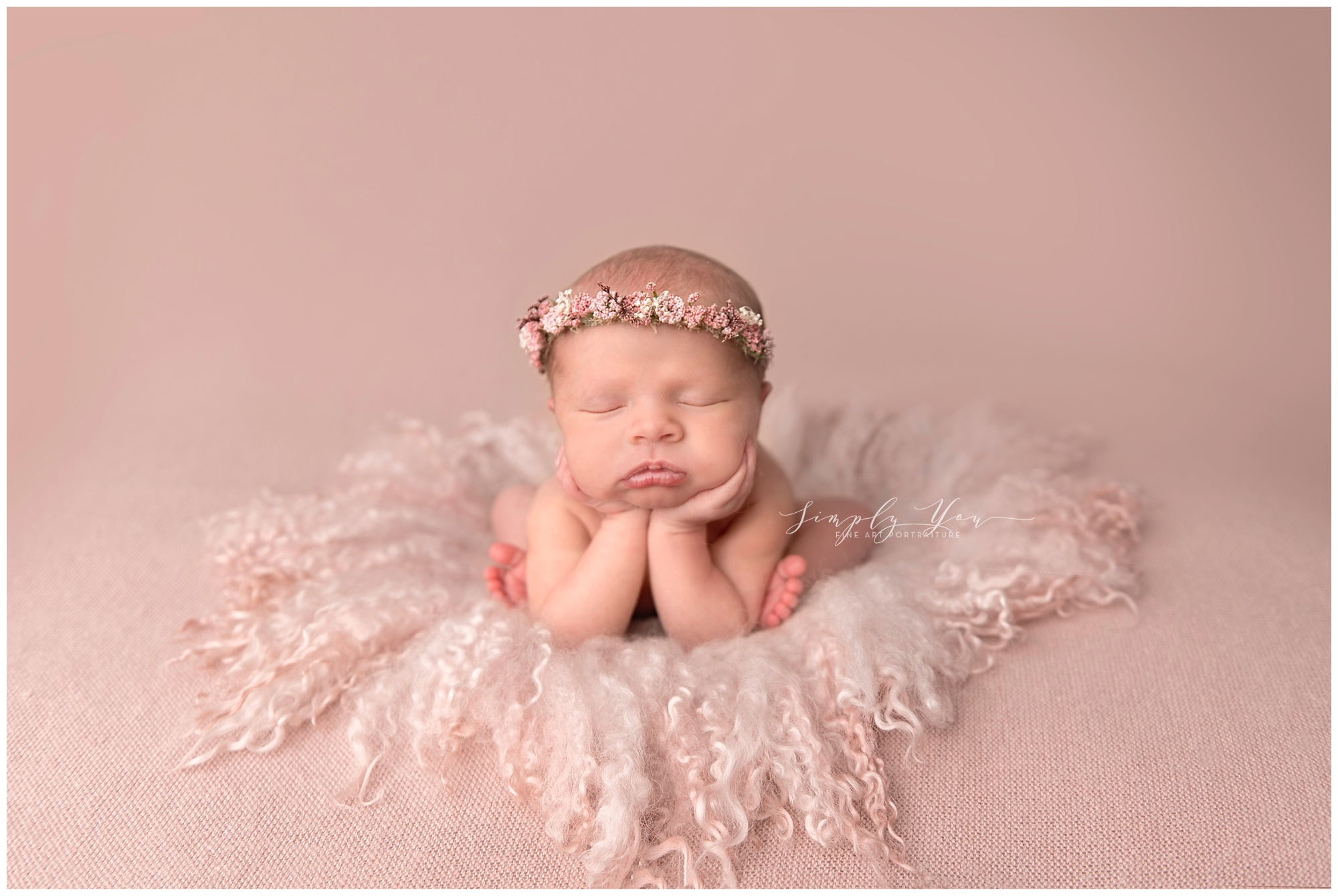 newborn baby girl pink props headband froggy pose