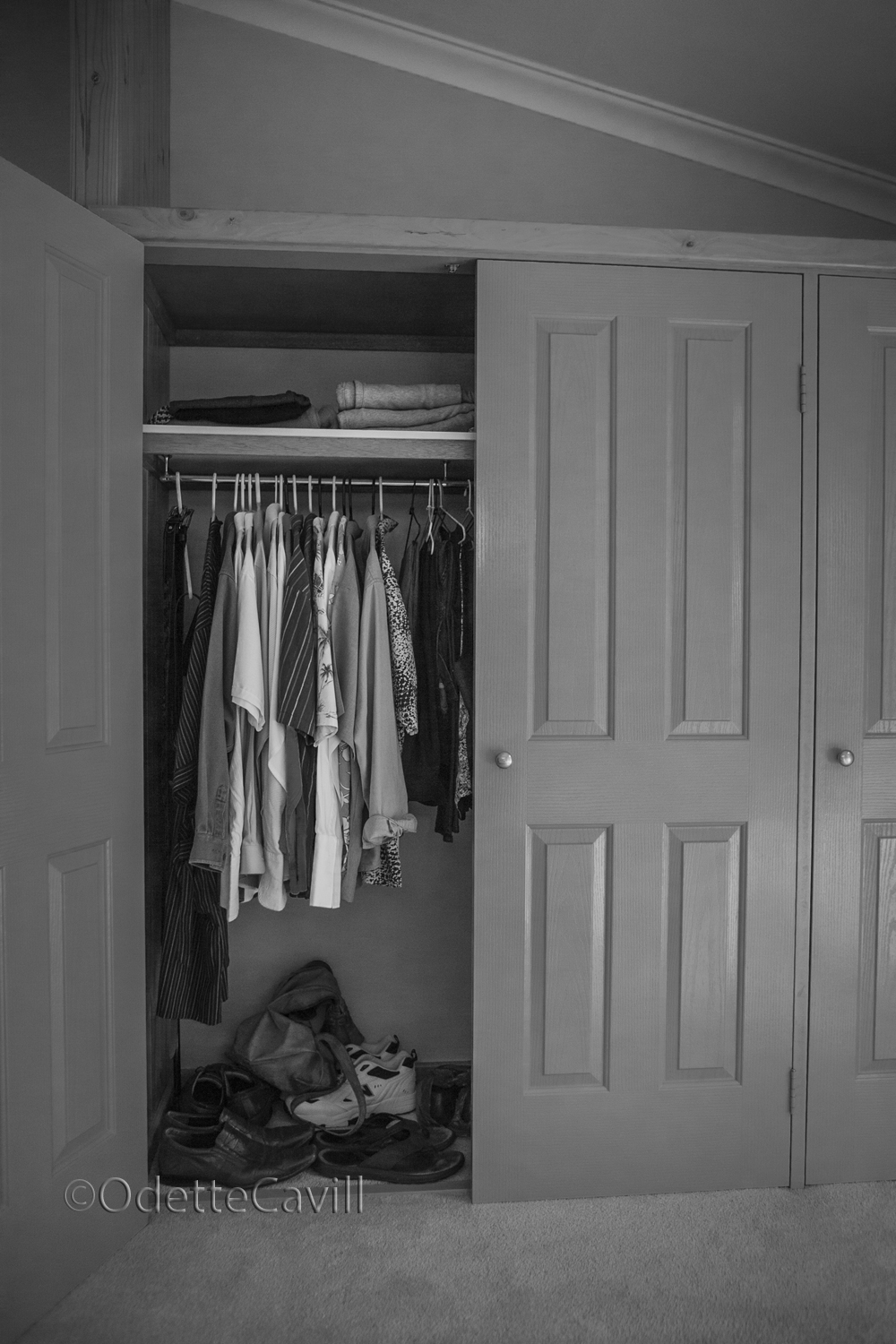 Everything in his wardrobe is minimal.  Big Mikie has very few clothes.  Nothing is out of place.  This house has strict rules!