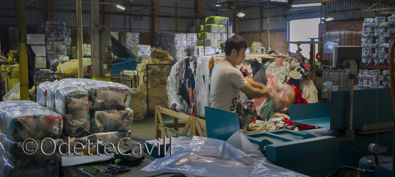 The Busines of Recycling - The donated clothing,  now cut rag,