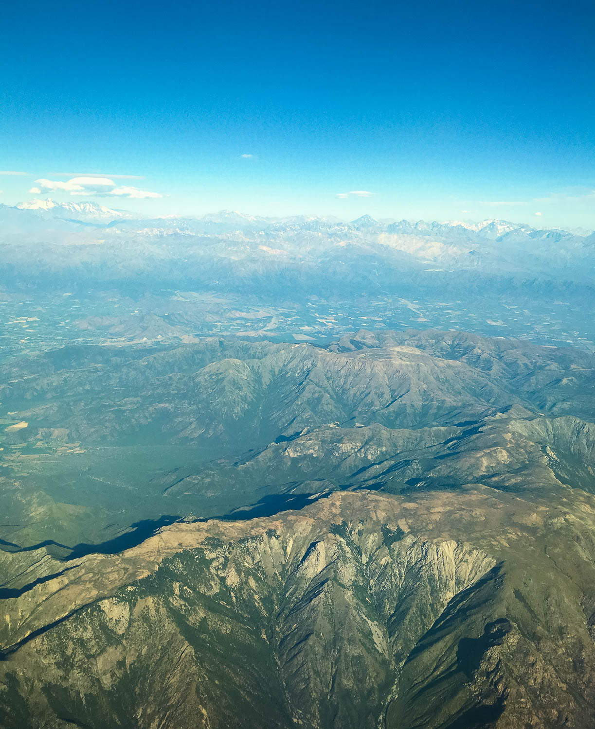 Above: View from plane arriving Santiago, Chile.