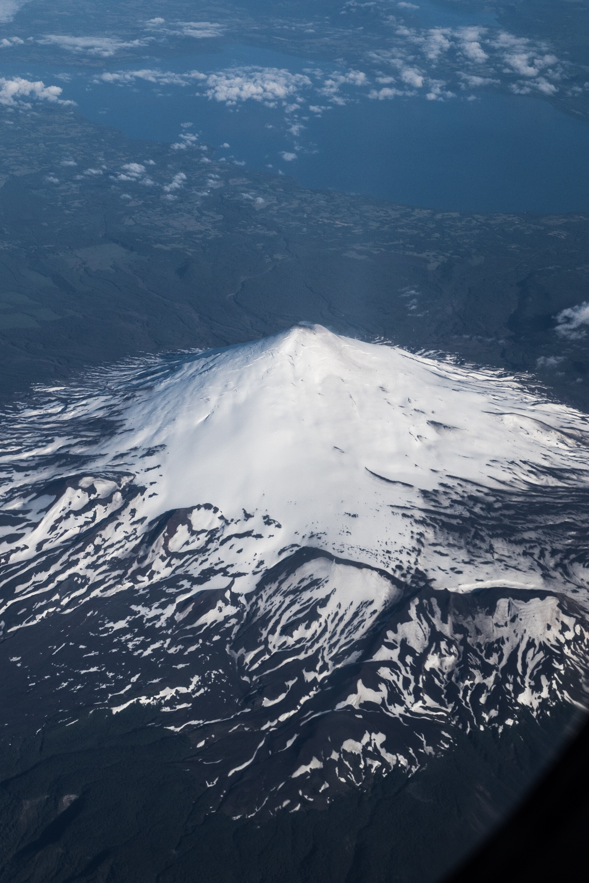 Image from aeroplane of Volcano on way to Ushuaia, Argentina from Santiago, Chile