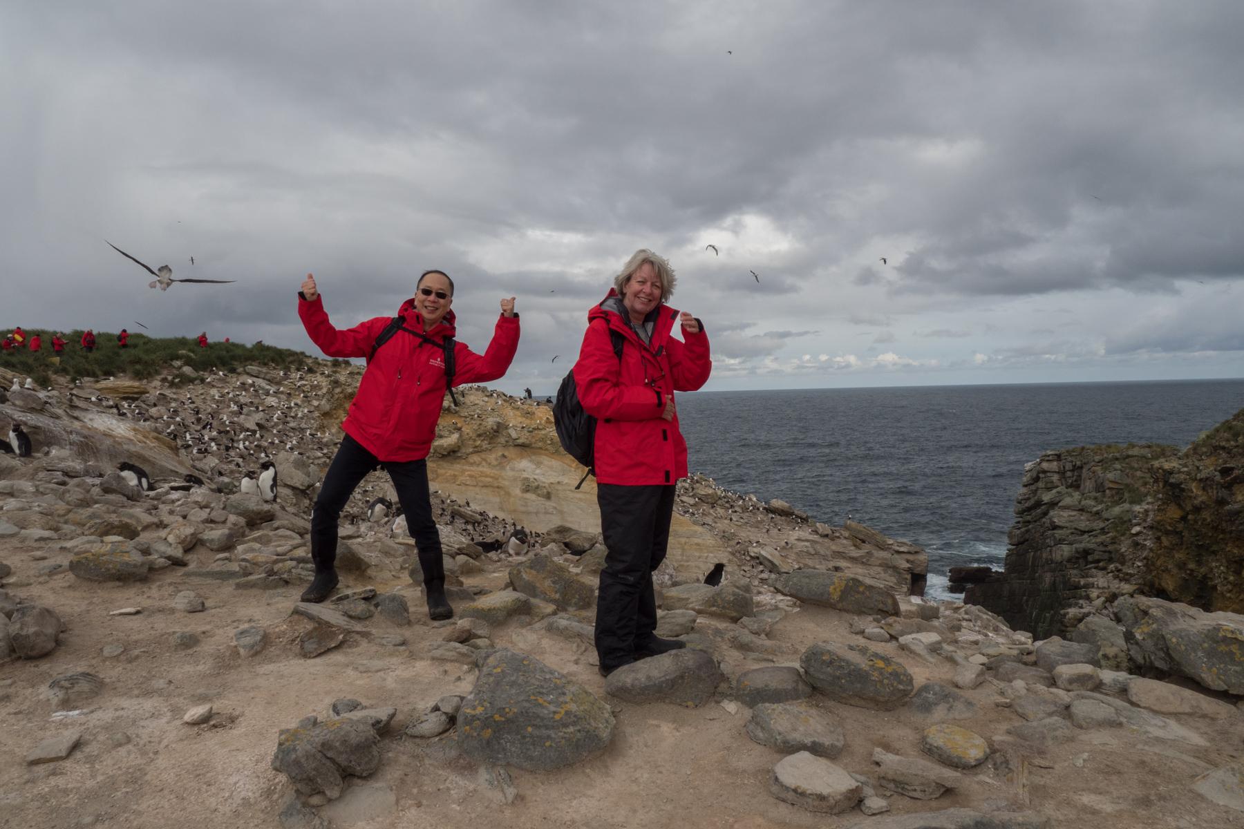 Tom and Odette at Coffin Harbour, New Island, Falklands