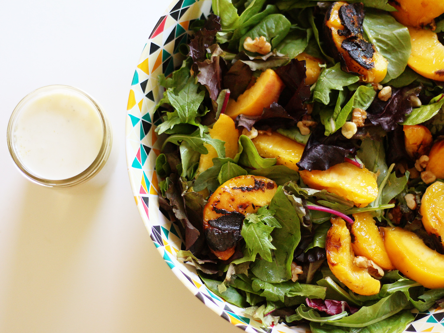 Grilled Peach Salad w/ Honey Goat Cheese Dressing // S.S. Heart