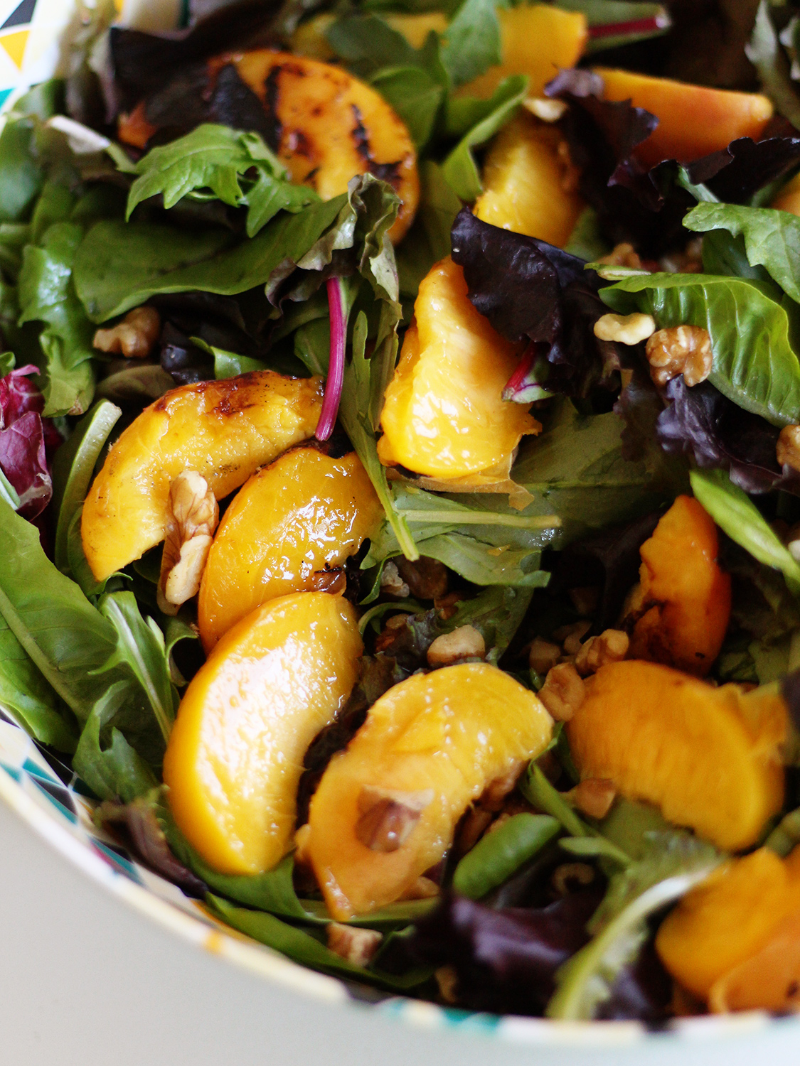 Grilled Peach Salad w/ Honey Goat Cheese Dressing from ssheart.com/blog