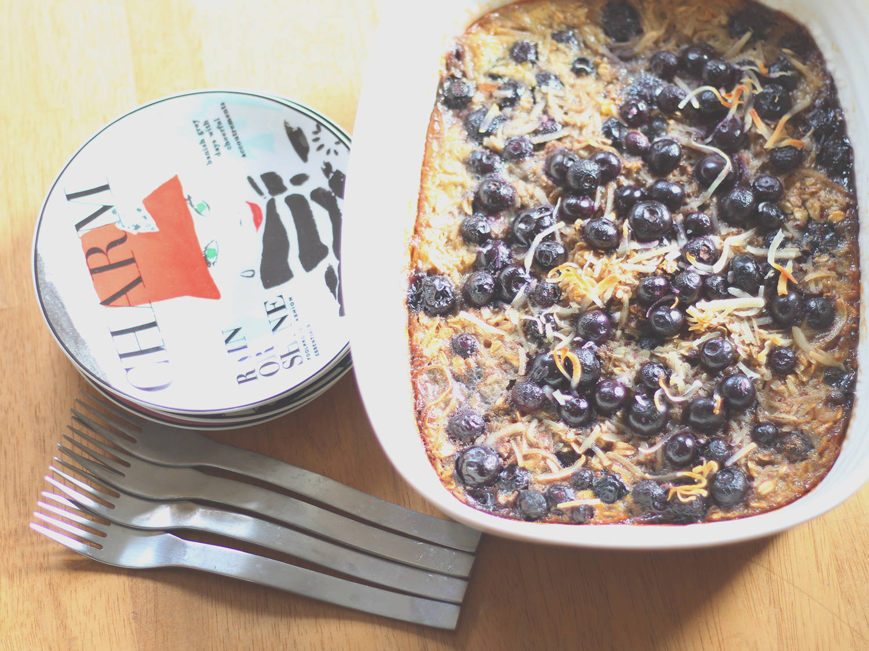 Baked blueberry, banana & coconut oatmeal.
