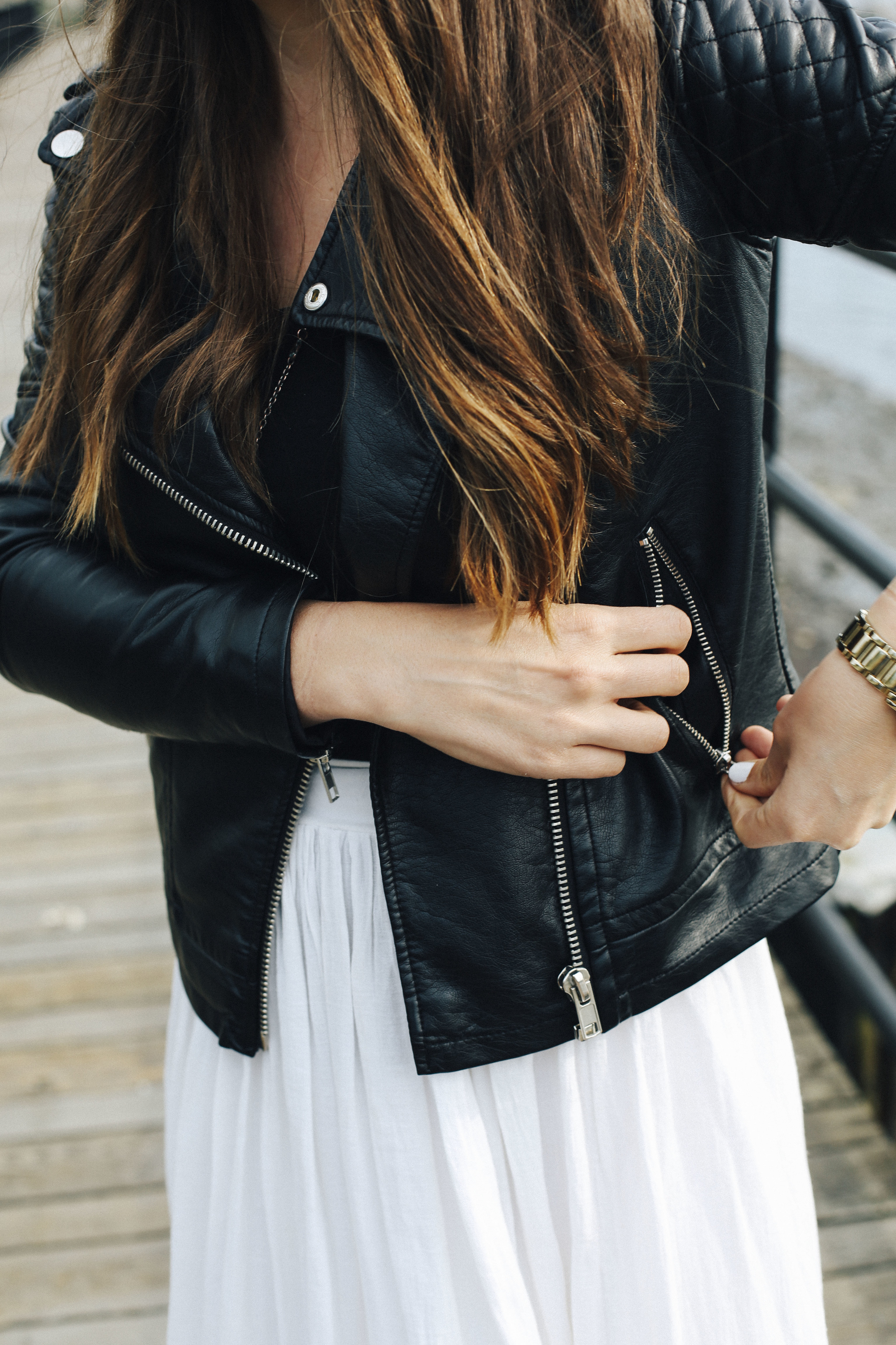 black quilted leather jacket