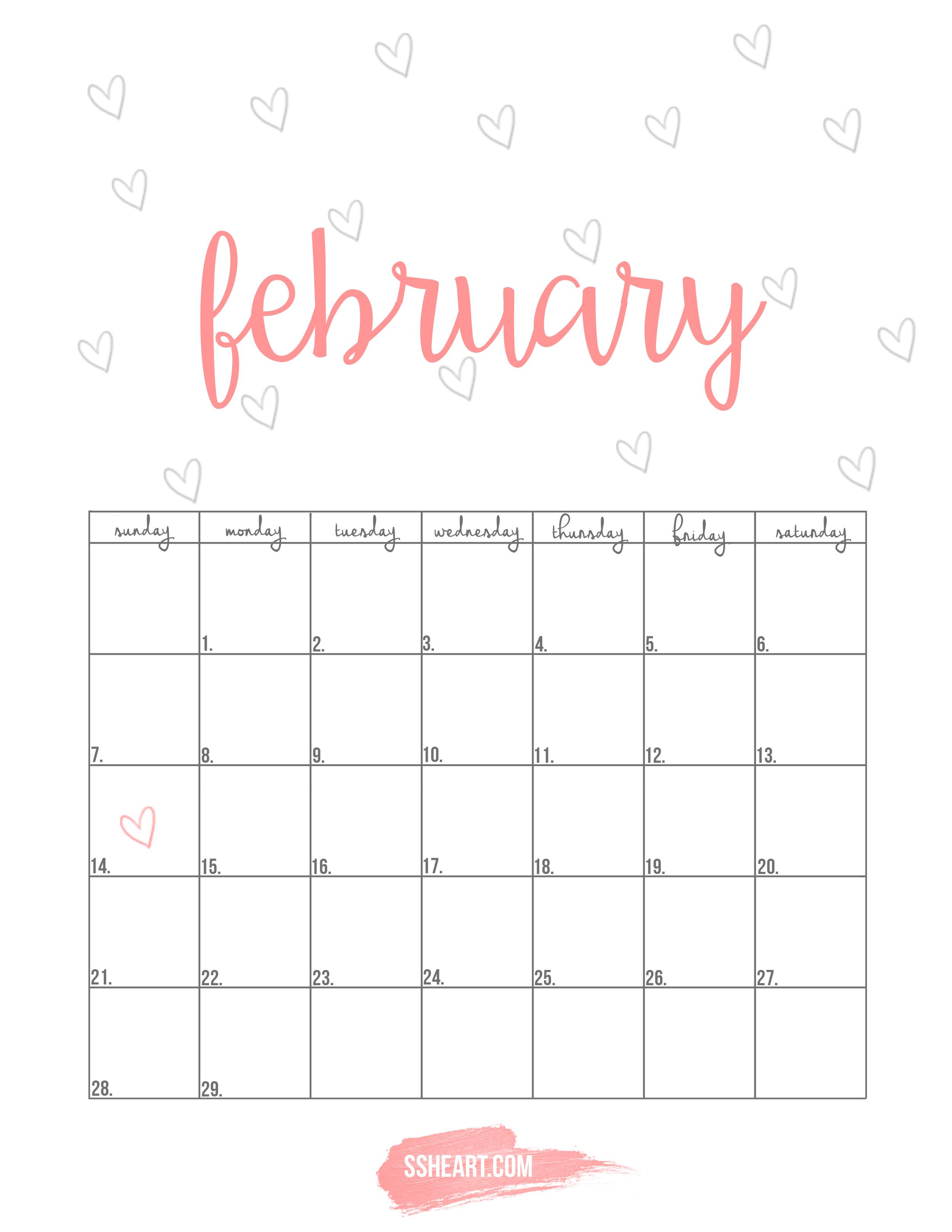 Free printable February calendar!