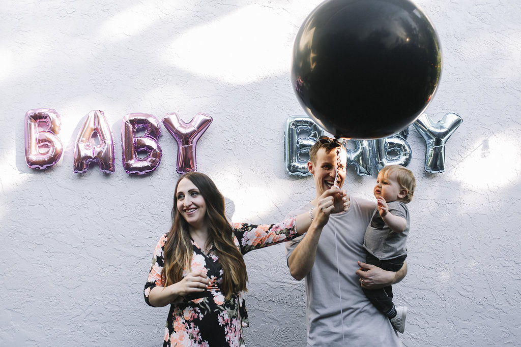 Baby Gender Reveal with Black Balloon