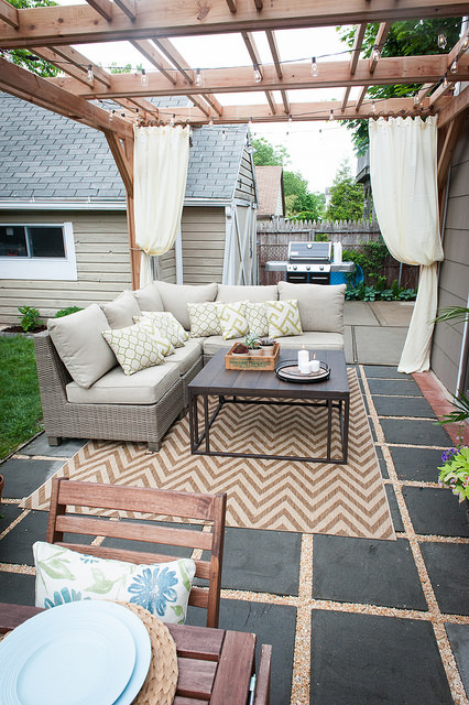 backyard patio with bench seating