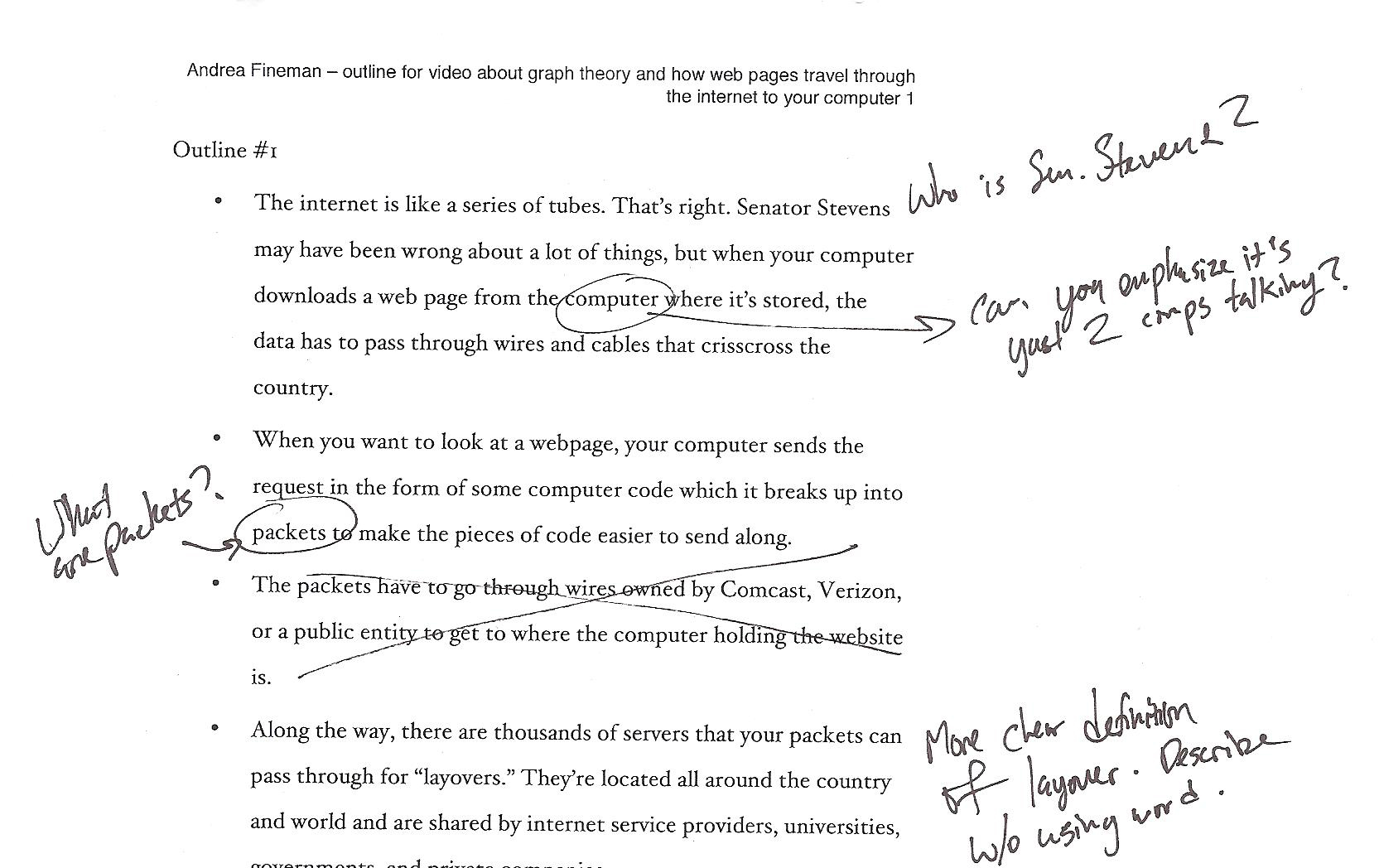 My original script, which covered too many topics to fit into two minutes.