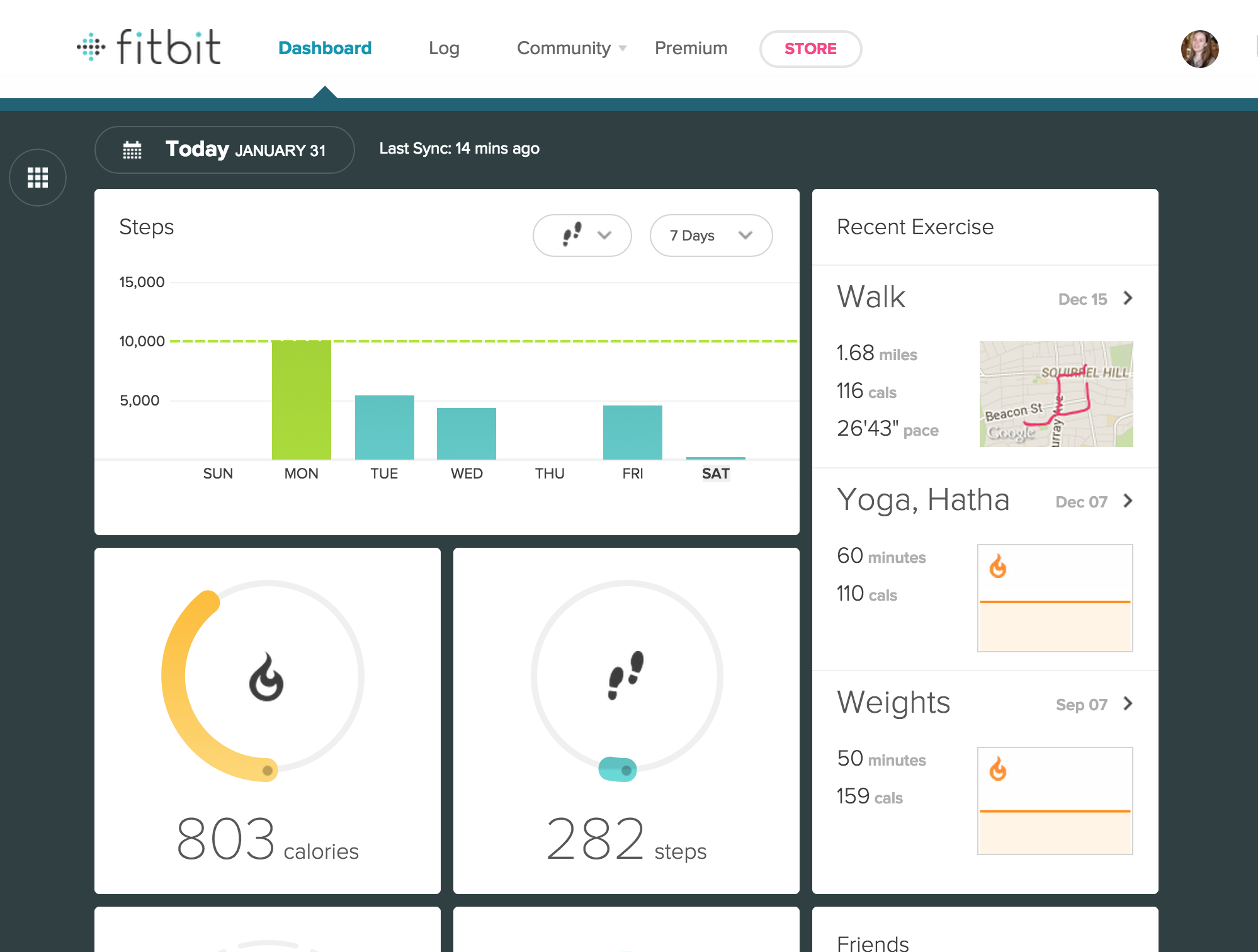 Fitbit's existing web dash, before the incorporation of the auto-detect algorithm.