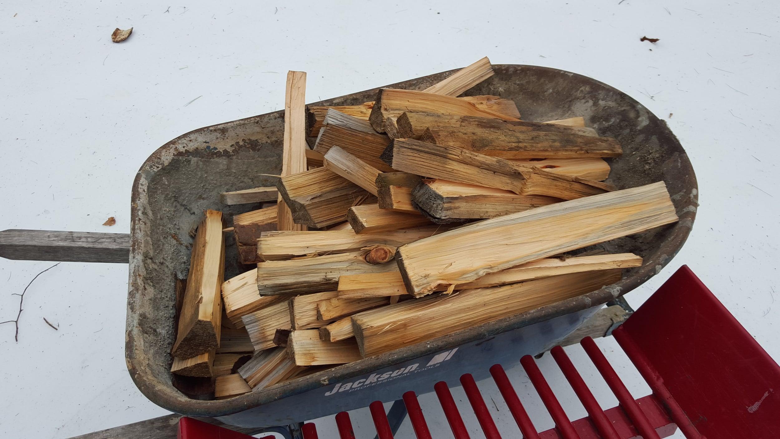 25 cubic feet of pine firewood makes 4 full wheelbarrows of kindling