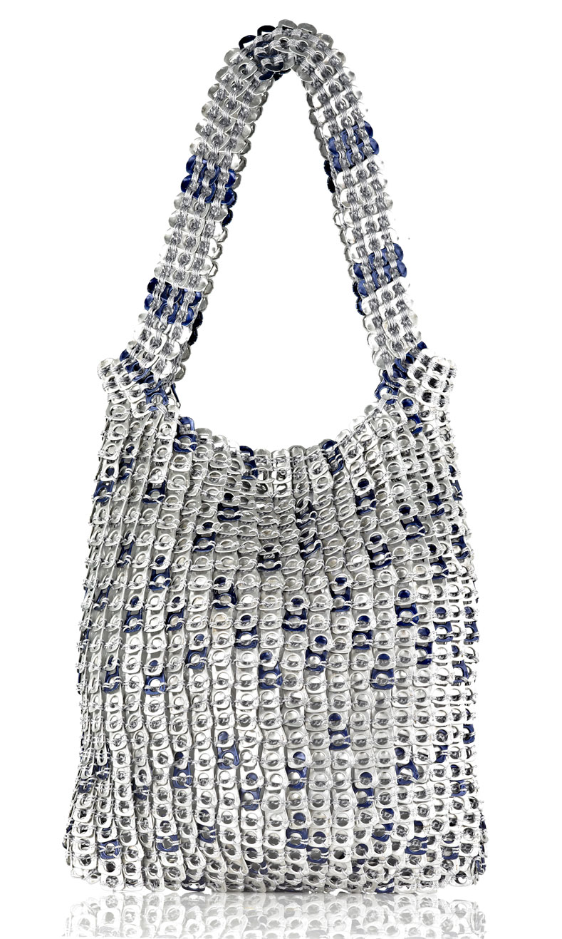 """With Blu""  Soda Can Tabs handbag  made by Manos Amorosas  (Bogota, Colombia)"