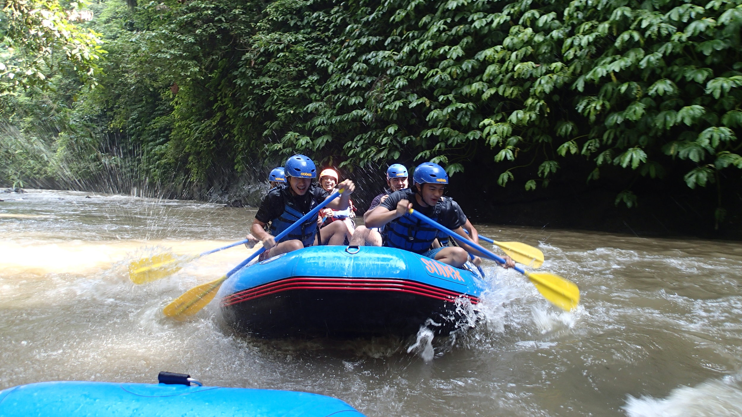 Bali, White Water Rafting, Students Paddling (2).JPG