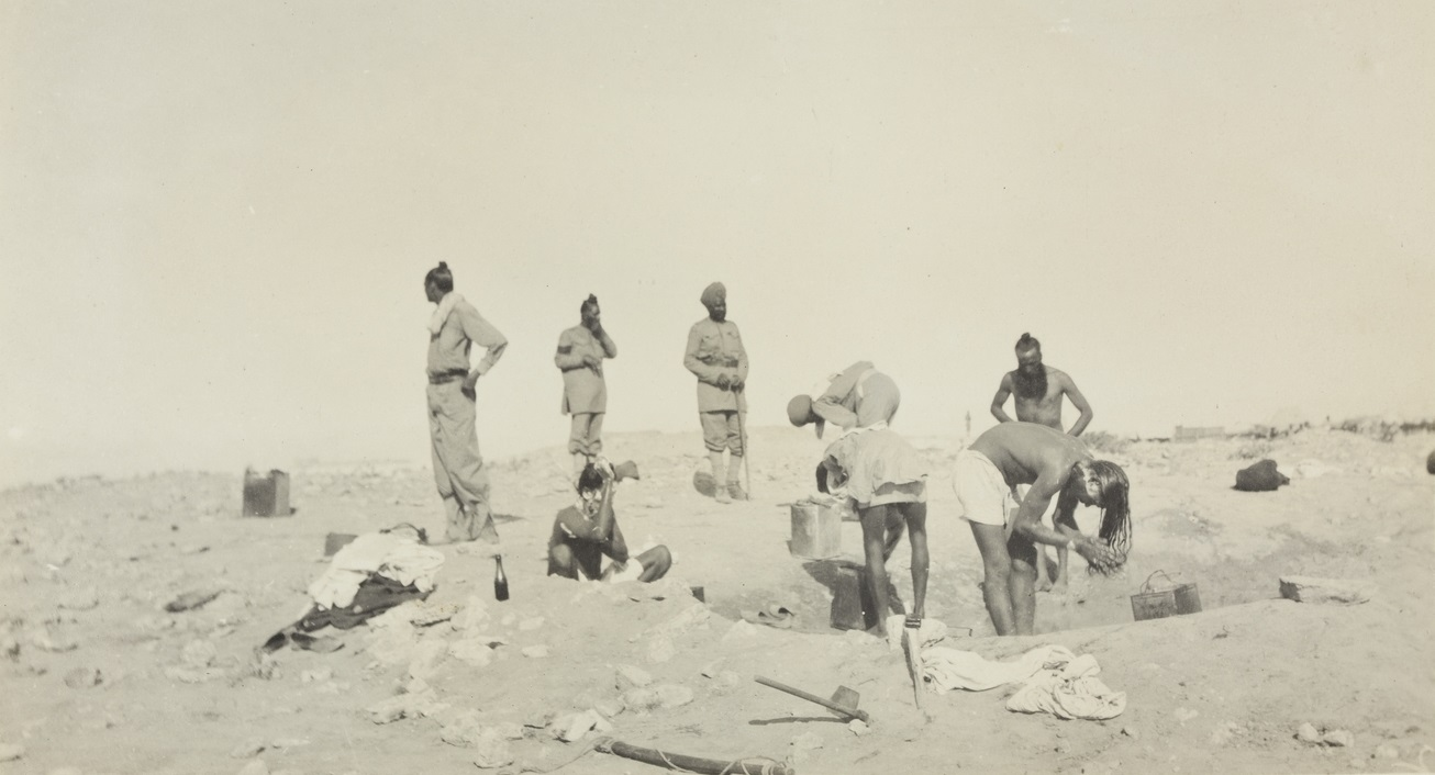 Sikhs bathing in either the Gallipoli or Sinai peninsula. It must have been a very interesting sight for the Australians to see these tall turbaned and bearded men unwrap their turbans, undo their topknot and proceed to wash their long hair. The reverse would occur once they had dried their hair in the sun, by putting their hair back into a topknot and retying their turbans.