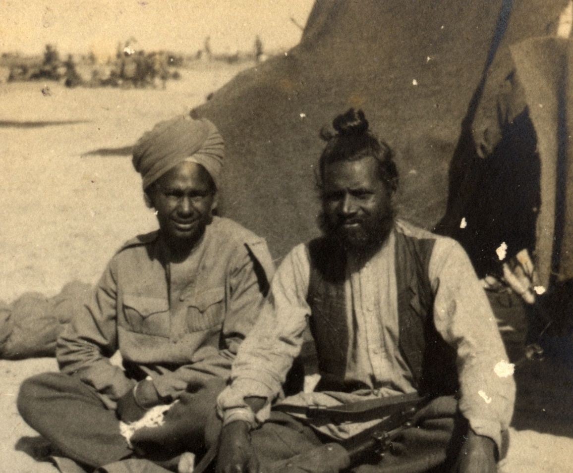 "This photograph titled ""Brother Sikh"" is from an album created by Lt Thomas Gerald George Fahey who served in the Australian Light Horse in the Middle East during World War 1. The title is interesting as the words seek to imply that either the men shown in the photo were brothers or that the photographer considered the Sikhs as brothers."