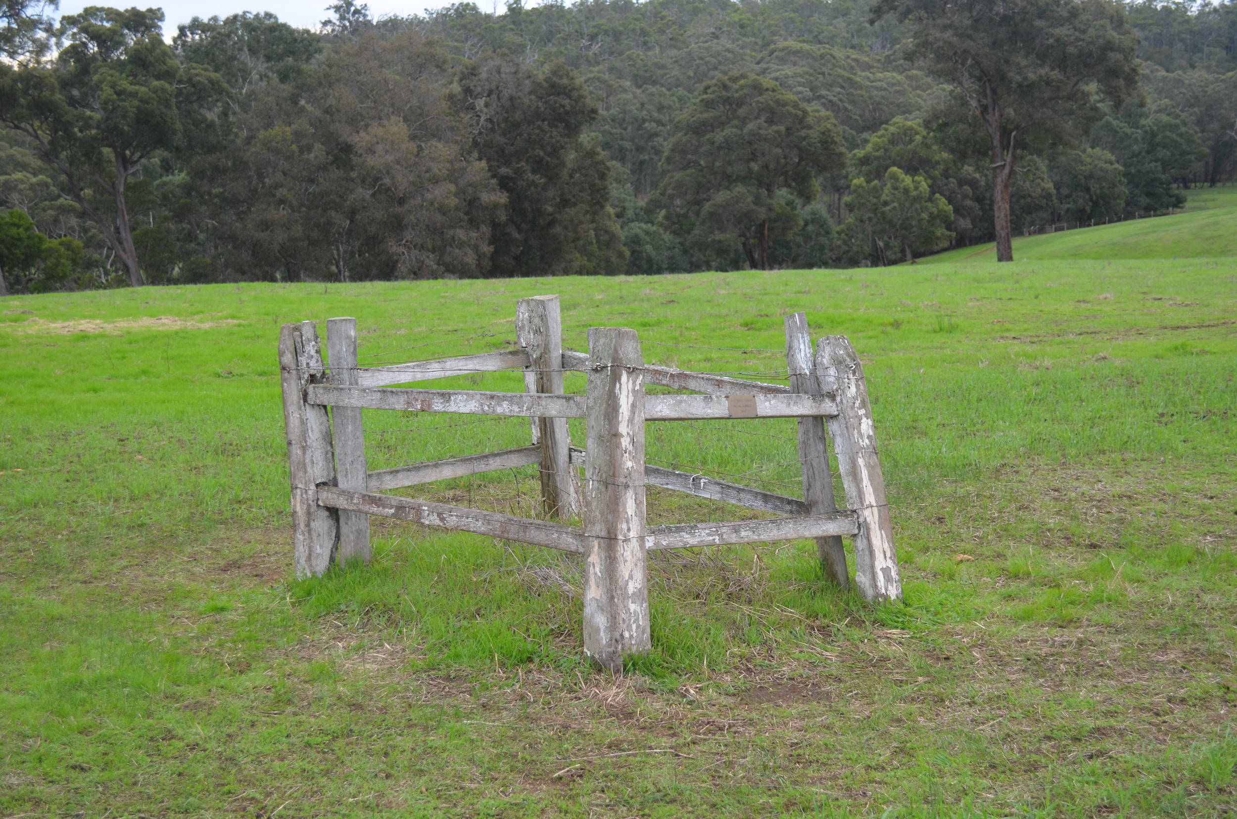 Herman Singh's cremation site is still kept clearly identified on the Muir family's farm. In the middle of a paddock, this site is left undisturbed even while farming activities continue all around.