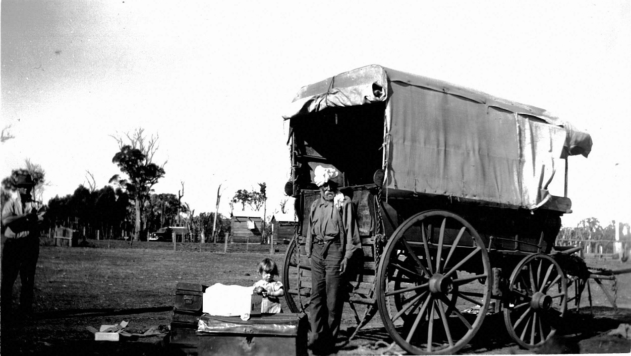 Nehal standing by his wagon.