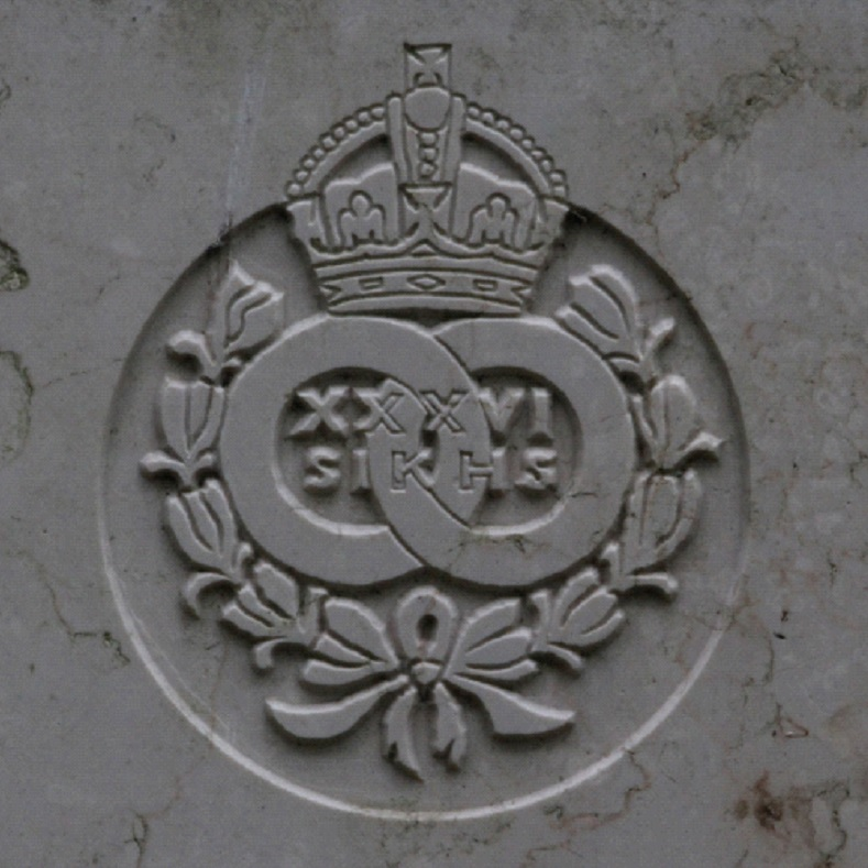 An imprint of the 36th Sikhs badge.