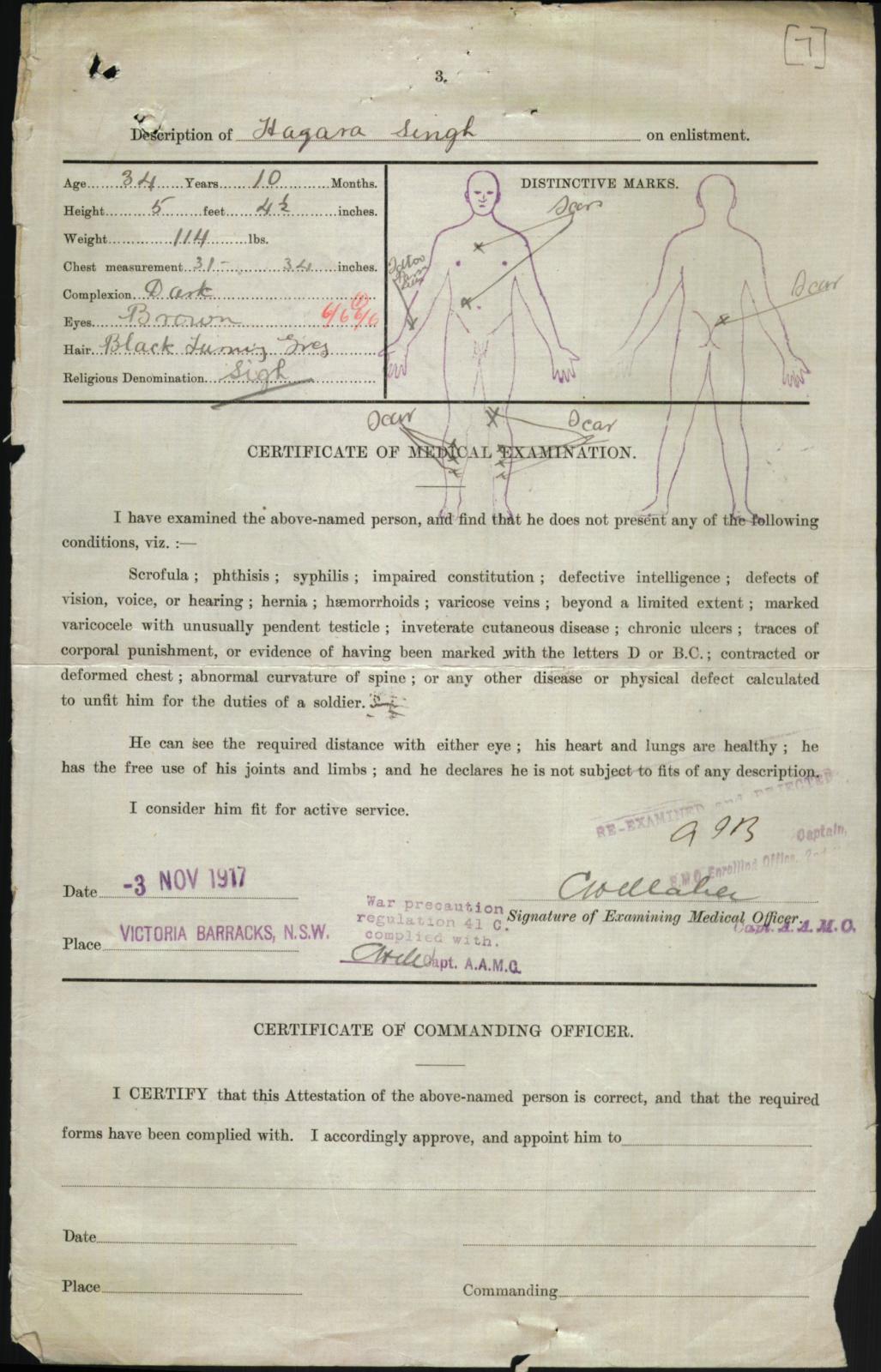 Hazara Singh - Enlistment form for WW1