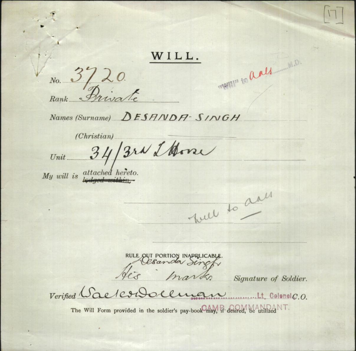 Desanda Singh - Enlistment form for WW1