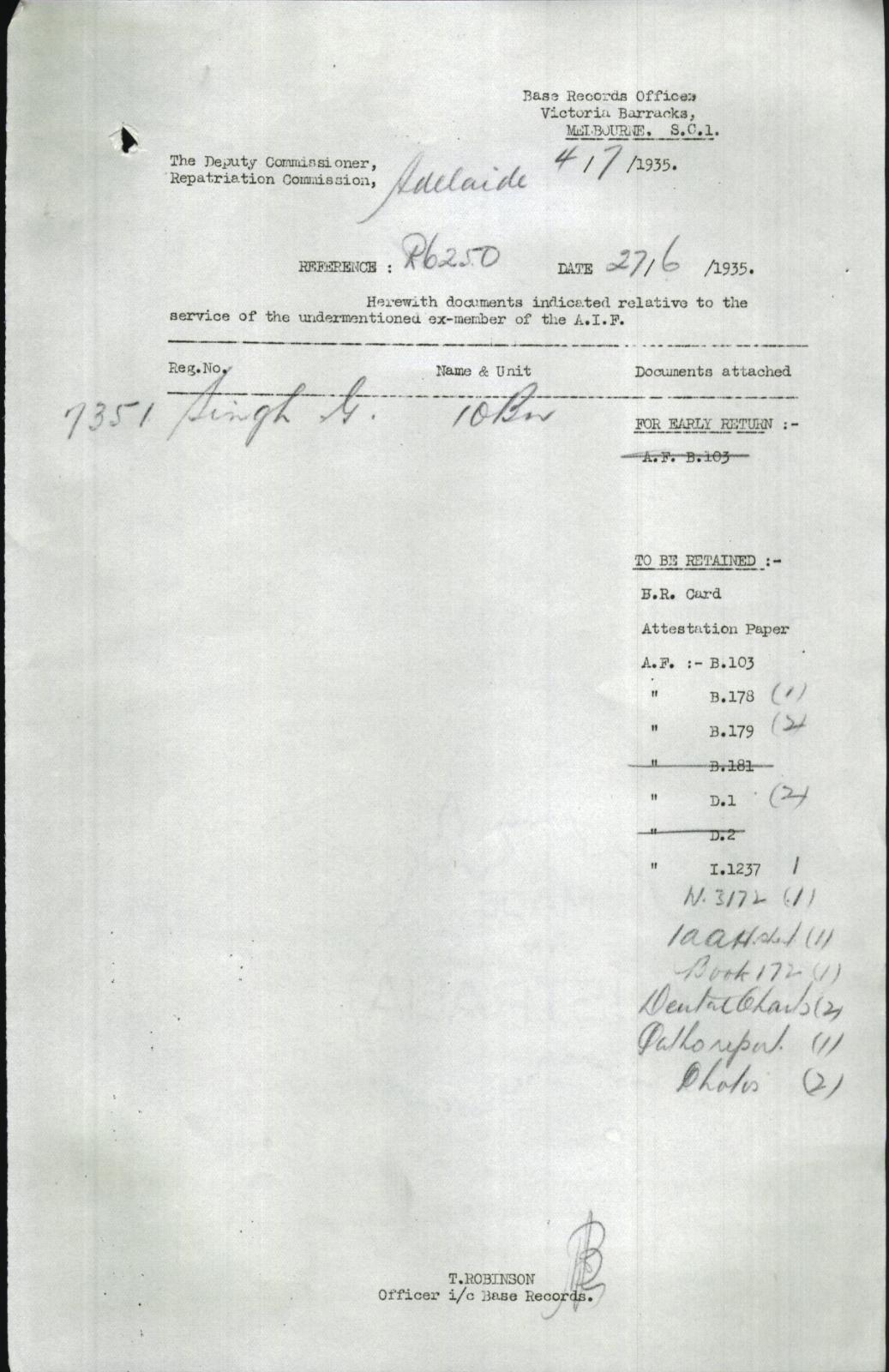 Enlistment form for WW1. Source: National Archives of Australia (NAA:B2455, Singh Ganessa, 8085592) https://recordsearch.naa.gov.au/SearchNRetrieve/Interface/ViewImage.aspx?B=8085592