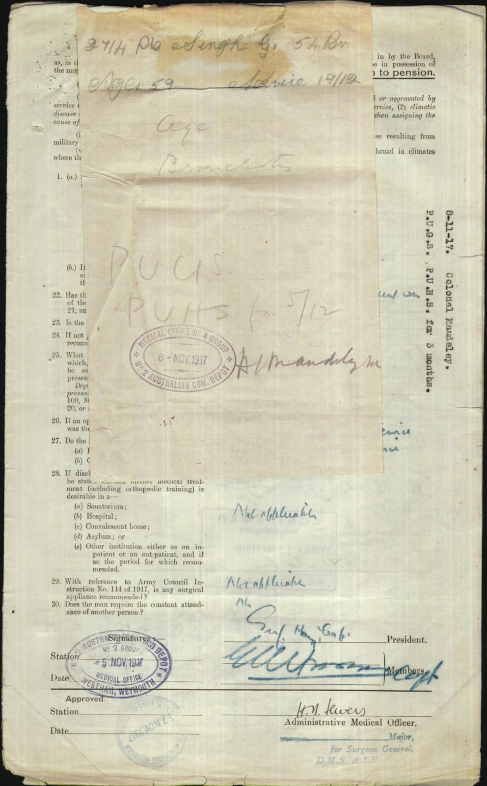 Enlistment form for WW1. Source: National Archives of Australia (NAA:B2455, Singh Gurbachan, 8085591) https://recordsearch.naa.gov.au/SearchNRetrieve/Interface/ViewImage.aspx?B=8085591