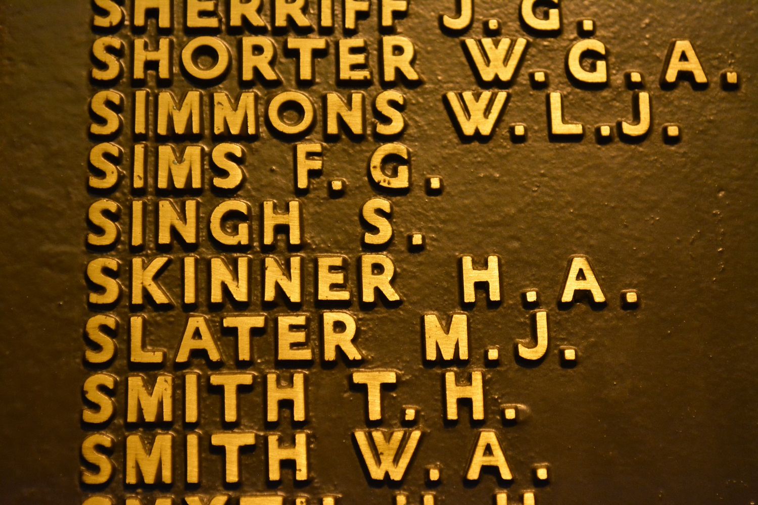 Private Sarn Singh's name as contained at the National War Memorial in Adelaide