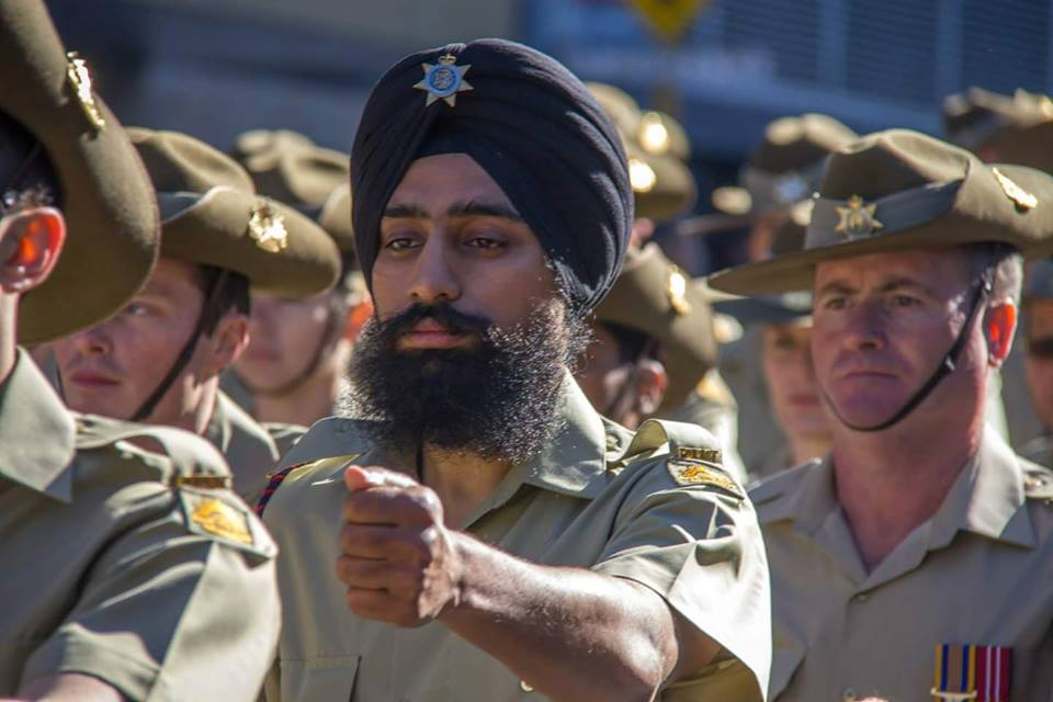 "In this picture we see Manpreet Singh proudly wearing his Puggaree as are all the other men in this photo (albeit a different ""Puggaree""). Anzac Day Parade, Perth, 2015"