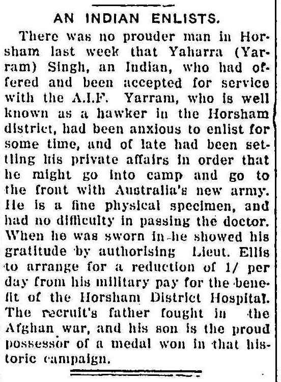 "Article taken from the Tuesday 7 March 1916 edition of ""Warracknabeal Herald"" a newspaper in Vic. To see original source please click on link below:  http://nla.gov.au/nla.news-article132777640"