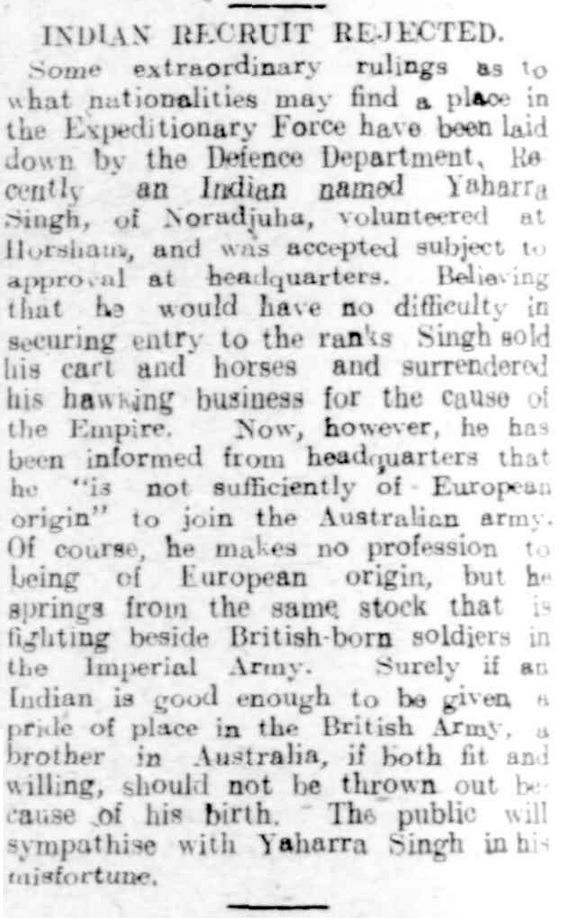 "Article taken from the Friday 24 March 1916 edition of ""The Horsham Times"" a newspaper in Victoria. To see original source please click on link below:  http://nla.gov.au/nla.news-article73171371"