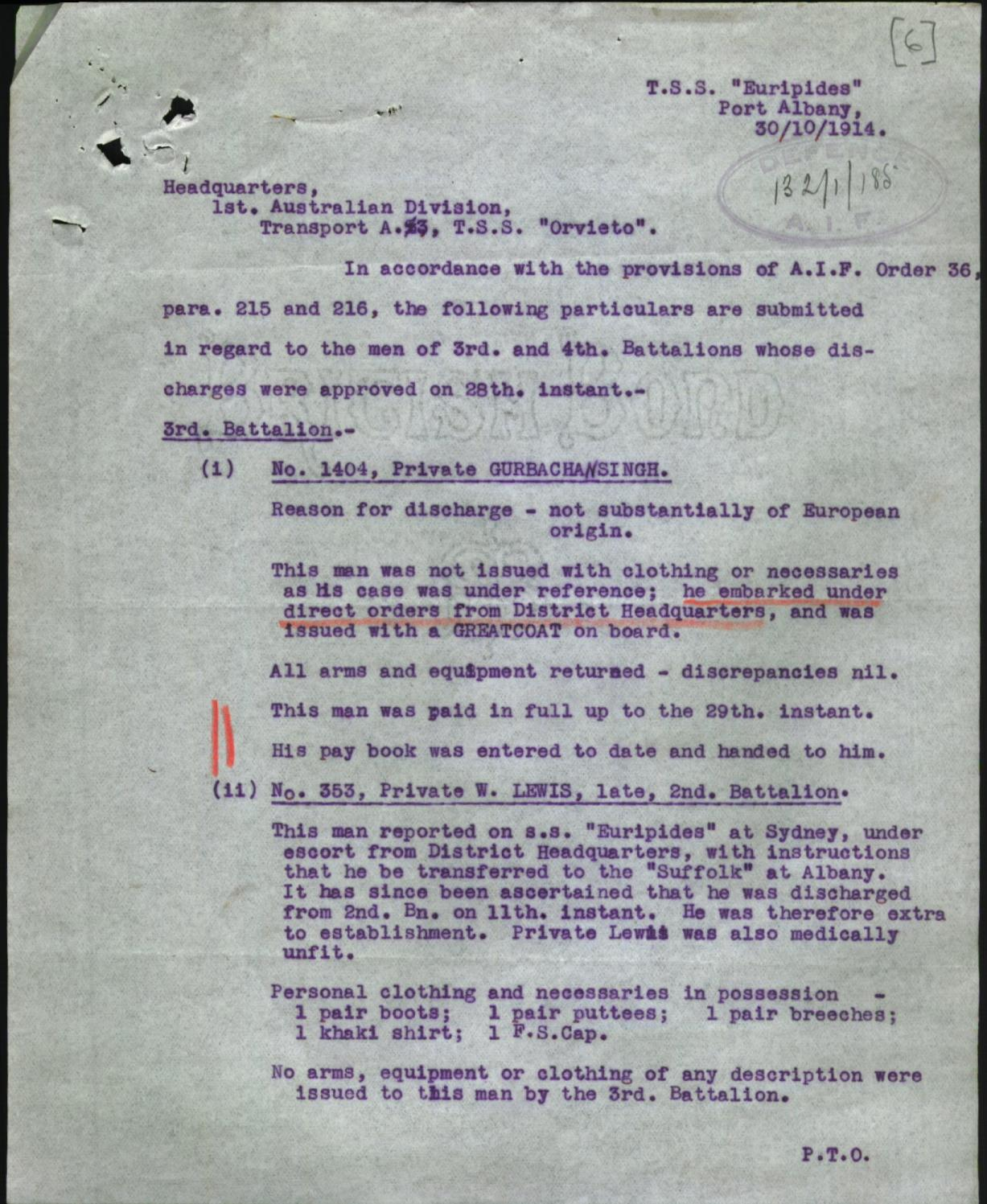 Re-enlistment documentation for WW1. Source: National Archives of Australia (NAA:B2455, Singh Gurbachan, 8085591) https://recordsearch.naa.gov.au/SearchNRetrieve/Interface/ViewImage.aspx?B=8085591